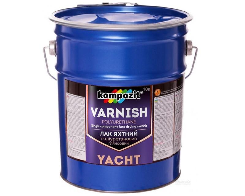 Лак уретановый KOMPOZIT YACHT VARNISH яхтовый глянцевый 10л