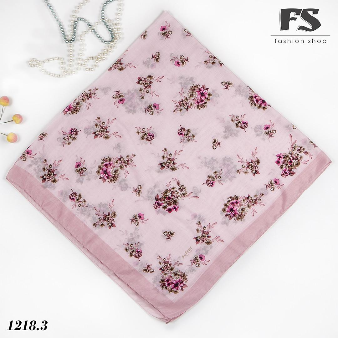 Летний розовый  батистовый платок Цветочная нежность