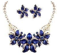 Ювелирный комплект Синий цветок, фото 1