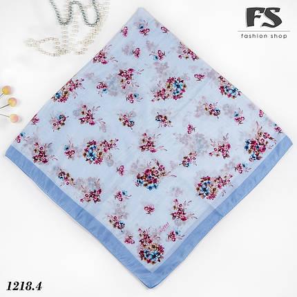 Летний голубой батистовый платок Цветочная нежность, фото 2