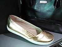Кожаные серебристые туфли - балетки, фото 1