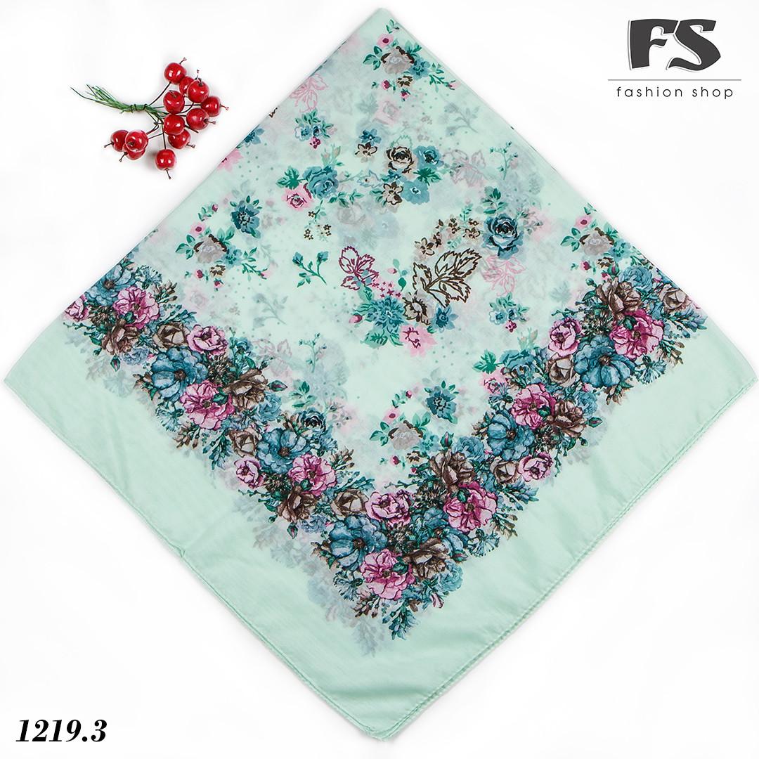 Летний мятный  батистовый платок Модница