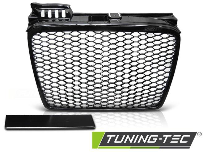 Решетка радиатора Audi A4 B7 тюнинг стиль RS4 (черный глянц)