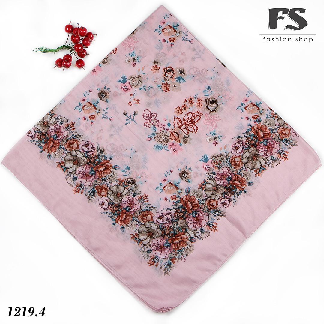 Розовый летний батистовый платок Модница