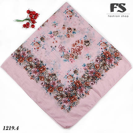 Розовый летний батистовый платок Модница, фото 2