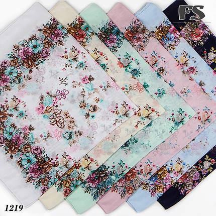 Голубой  батистовый платок Модница, фото 2