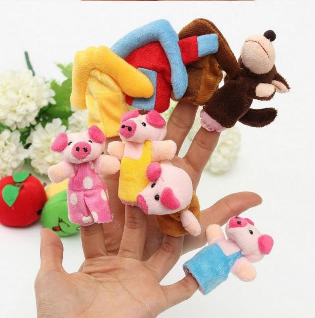 Набор плюшевых игрушек на пальчики 8 штук. Пальчиковый театр Волк поосята и домики