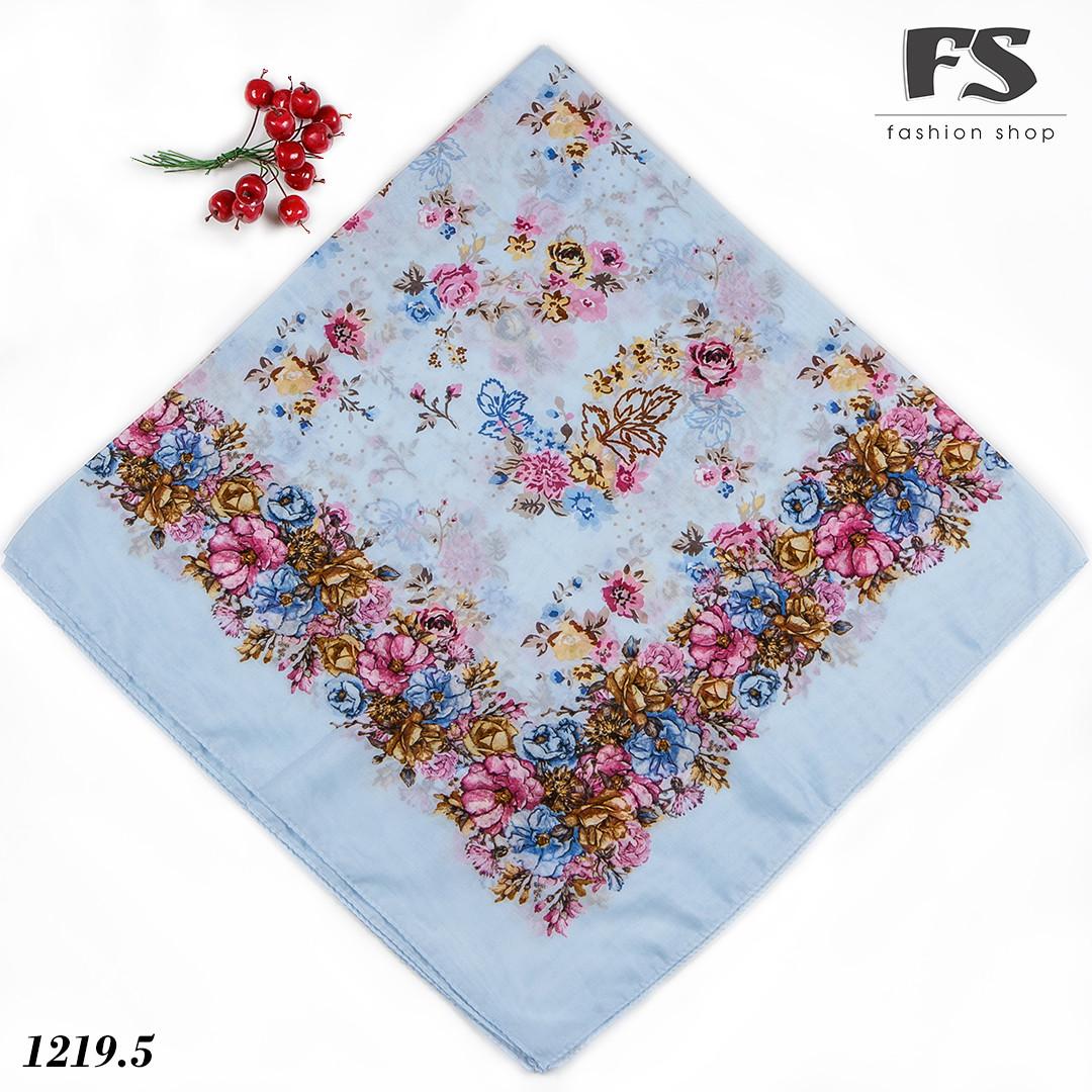 Голубой  батистовый платок Модница