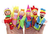 Набор плюшевых игрушек на пальчики 6 штук. Пальчиковый театр Королевство