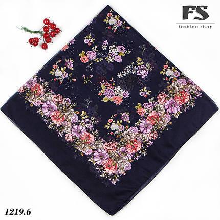 Летний тёмно-синий  батистовый платок Модница, фото 2