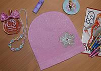 Весенняя шапка для девочек с цветком Польша розовый, фото 1