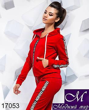 Женский спортивный костюм красного цвета (р. S, M, L) арт. 17053, фото 2
