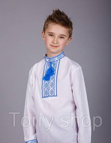 Вышитая рубашка хрестиком подростковая, синий орнамент