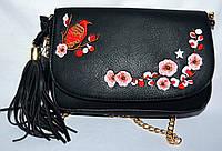 Женский молодежный черный клатч на плечо с вышивкой 24*17 см, фото 1