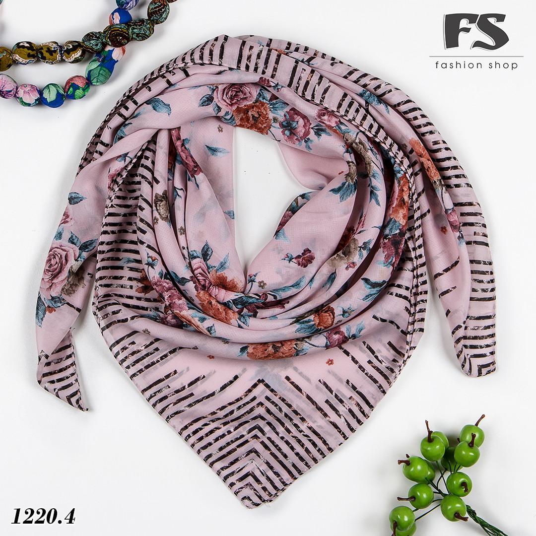 Розовый батистовый платок Леопардовые полосы