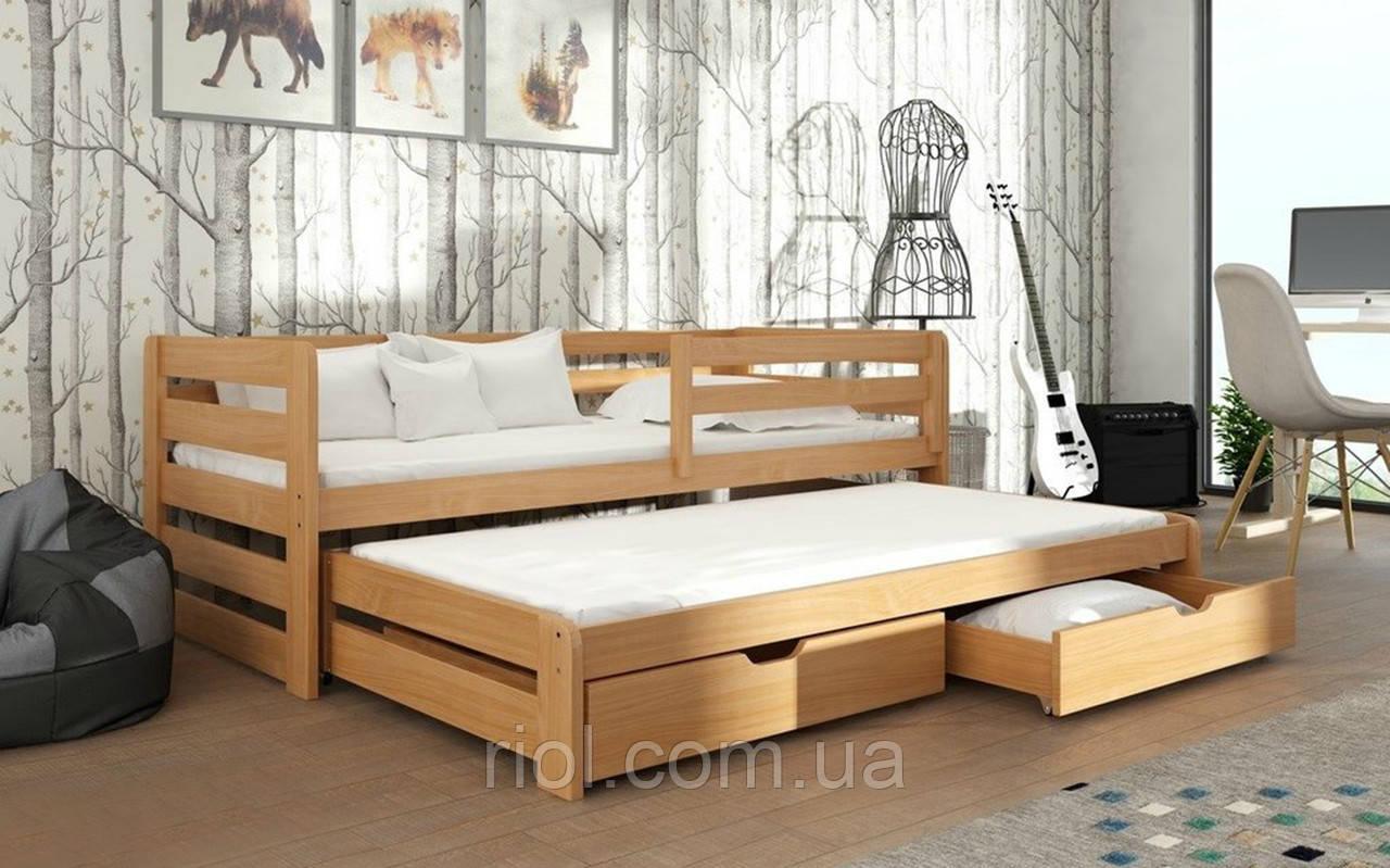Кровать из массива бука Летти с дополнительным спальным местом