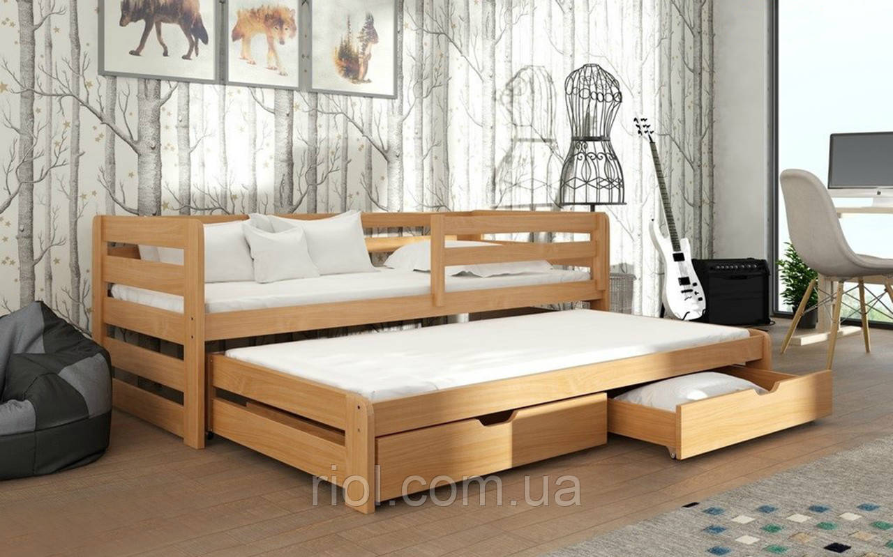 Ліжко з масиву бука Летті з додатковим спальним місцем