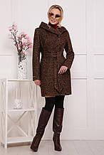 Красивое пальто с капюшоном П-311 коричневый(44-48)