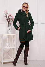 Красивое пальто с капюшоном П-311 темно-зеленый(44-48)