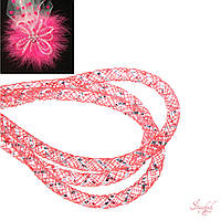 Кринолин нейлон трубчатый 4мм с люрексом серебро цвет красный, фото 1