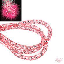 Кринолин нейлон трубчатый 4мм с люрексом серебро цвет красный