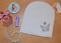 Двухслойная шапка для девочек Бабочка Польша молоко