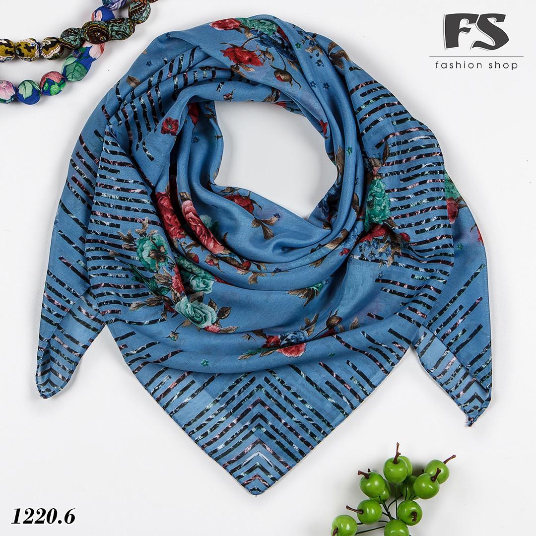 Синий батистовый платок Леопардовые полосы