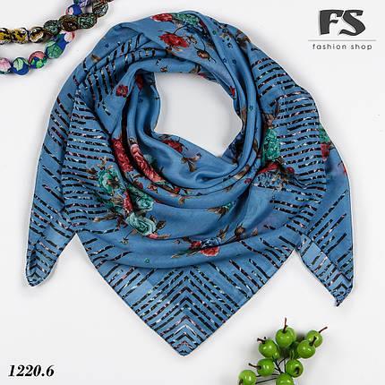 Синий батистовый платок Леопардовые полосы, фото 2