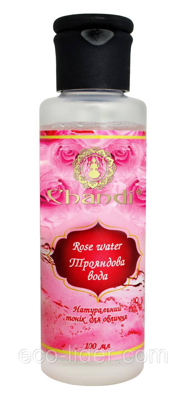 Натуральная розовая вода (Тоник для лица) Chandi, 100 мл