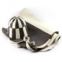 Набор для сауны светло-серый и комби XXL (коврик+шапка клетка) Смотреть на сайте Код: КГ4077