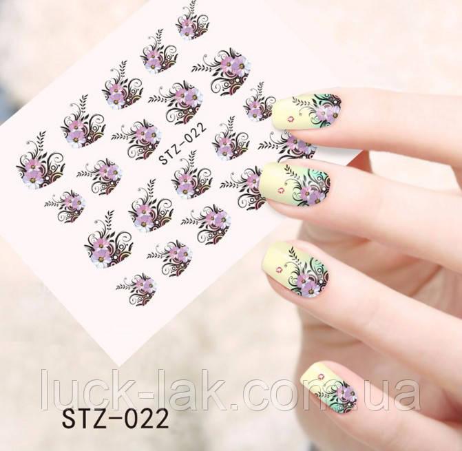 Водные наклейки, слайдер дизайн мелкие цветы STZ-022