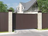 Откатные уличные ворота стандартных размеров с заполнением профлистом EVOLUTION-SLS