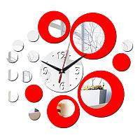 3-D часы настенные кольца круги красные, серебренные