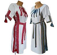 Вышитое женское платье в украинском стиле белого цвете с геометрической вышивкой