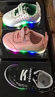 Детские кроссовки в горошек с подсветкой для девочек Размеры 20-25