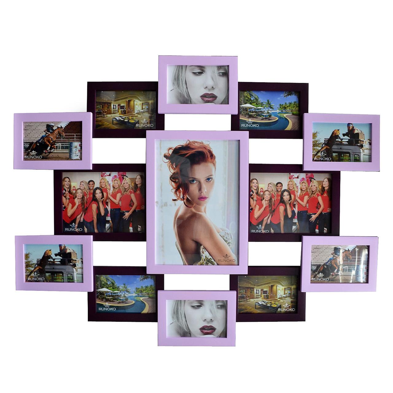 """Деревянная мультирамка на 13 фото """"Руноко Симметрия"""" - фиолетовая (фоторамка коллаж 80 х 70 см)"""