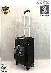 Чемодан Ультра легкий малый тканевый под ручную кладь на 4-х кол. Airtex 825 S Black