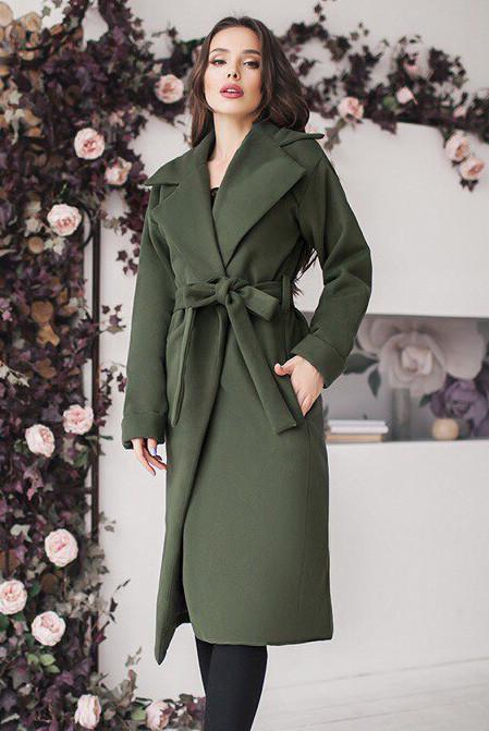 Женское пальто с поясом  - Даниель - хаки