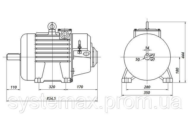 МТН 312-8 - IM1001 на лапах (габаритные и установочные размеры)
