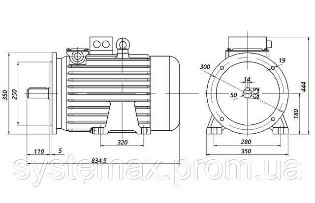 МТН 312-8 - IM2001 фланец на лапах (габаритные и установочные размеры)