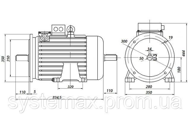 МТН 312-8 - IM2002 фланец на лапах (габаритные и установочные размеры)