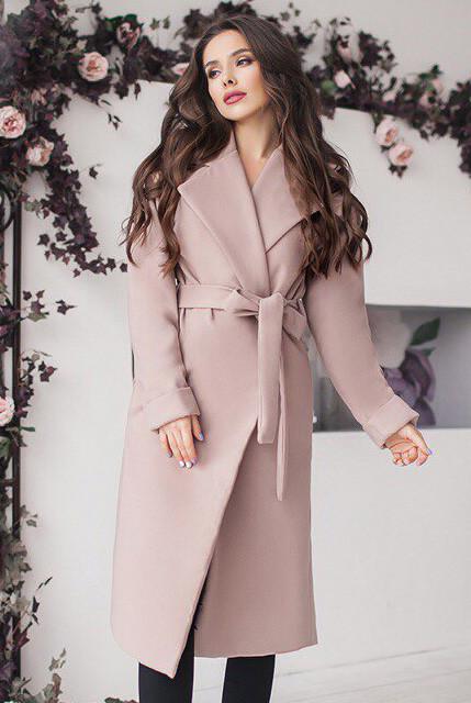 Бежевое женское пальто с подкладкой - Даниель -