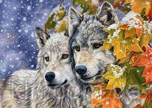 Алмазна вишивка на підрамнику Вірна пара вовків 40 х 50 см (арт. TN700)