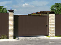 Откатные уличные ворота стандартных размеров в алюминиевой раме с заполнением сэндвич-панелями SLG-S