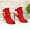 Женские замшевые красные босоножки на шпильке, фото 2