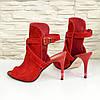 Женские замшевые красные босоножки на шпильке, фото 3