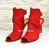 Женские замшевые красные босоножки на шпильке, фото 4