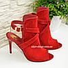 Женские замшевые красные босоножки на шпильке, фото 5