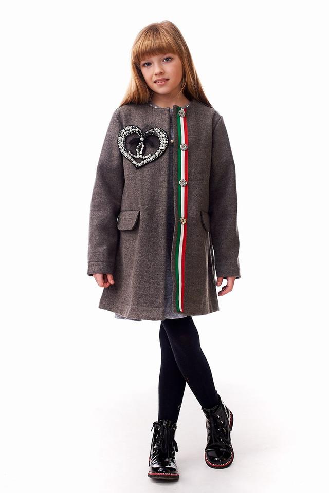 Пальто демисезонное для девочек 122-140 роста Шанель
