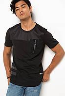 Черная мужская футболка De Facto / Де Факто с карманом на груди, фото 1